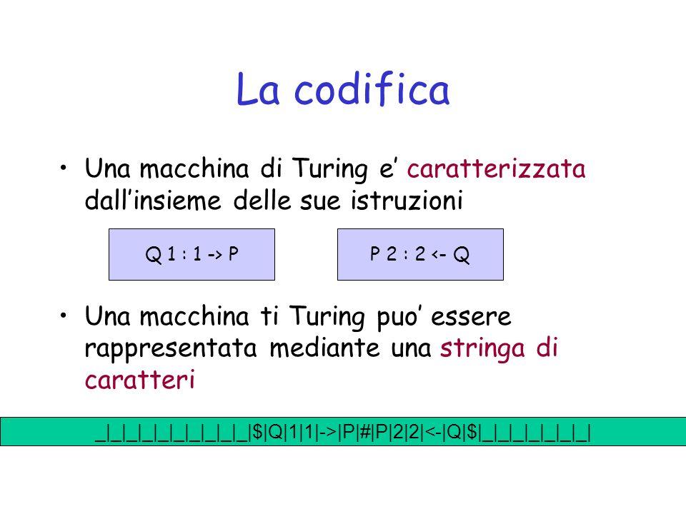 La codifica Una macchina di Turing e caratterizzata dallinsieme delle sue istruzioni Una macchina ti Turing puo essere rappresentata mediante una stringa di caratteri P 2 : 2 <- QQ 1 : 1 -> P _|_|_|_|_|_|_|_|_|_|$|Q|1|1|->|P|#|P|2|2|<-|Q|$|_|_|_|_|_|_|_|