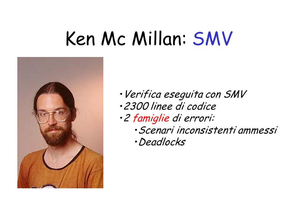 Ken Mc Millan: SMV Verifica eseguita con SMV 2300 linee di codice 2 famiglie di errori: Scenari inconsistenti ammessi Deadlocks