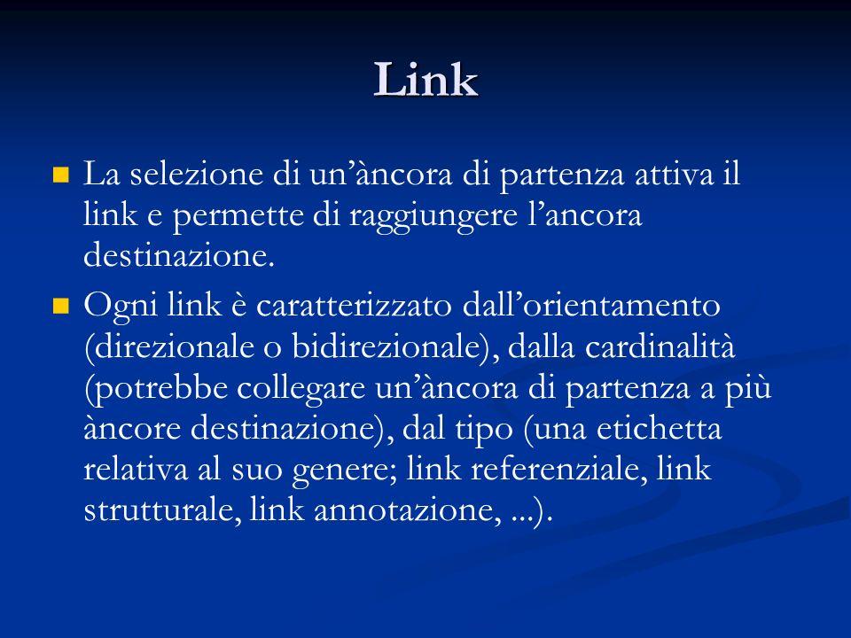 Link La selezione di unàncora di partenza attiva il link e permette di raggiungere lancora destinazione.