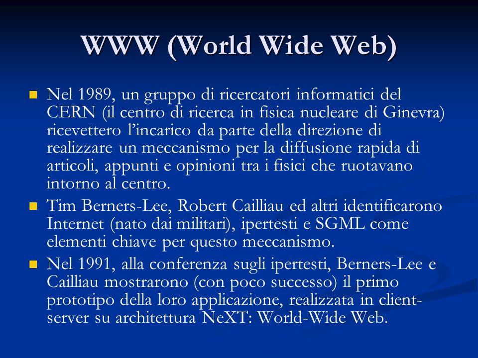WWW (World Wide Web) WWW (World Wide Web) Nel 1989, un gruppo di ricercatori informatici del CERN (il centro di ricerca in fisica nucleare di Ginevra) ricevettero lincarico da parte della direzione di realizzare un meccanismo per la diffusione rapida di articoli, appunti e opinioni tra i fisici che ruotavano intorno al centro.