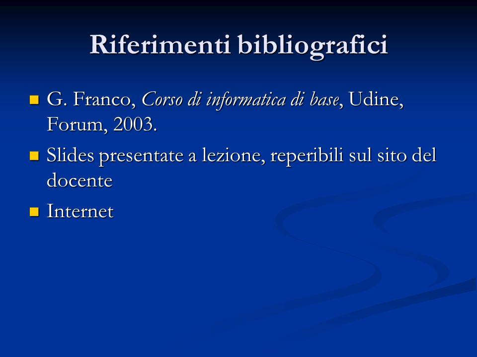 Riferimenti bibliografici G. Franco, Corso di informatica di base, Udine, Forum, 2003.
