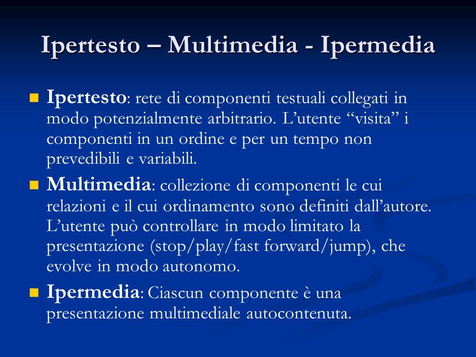 Ipertesto – Multimedia - Ipermedia Ipertesto : rete di componenti testuali collegati in modo potenzialmente arbitrario.