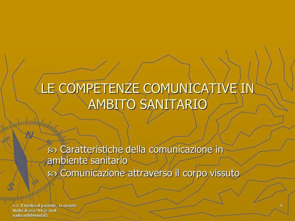 C.I. Il medico,il paziente, la società- Nadia dr.ssa Urli (e-mail nadia.urli@uniud.it) 3 LE COMPETENZE COMUNICATIVE IN AMBITO SANITARIO Caratteristich