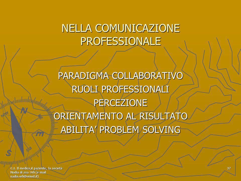 C.I. Il medico,il paziente, la società- Nadia dr.ssa Urli (e-mail nadia.urli@uniud.it) 37 NELLA COMUNICAZIONE PROFESSIONALE PARADIGMA COLLABORATIVO RU