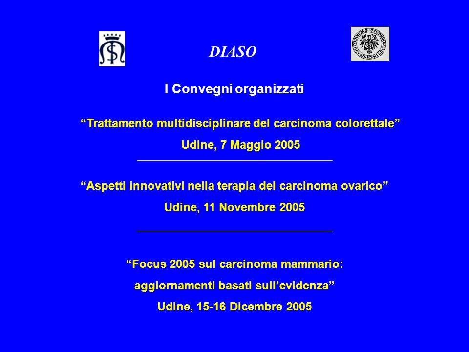 I Convegni organizzati DIASO Trattamento multidisciplinare del carcinoma colorettale Udine, 7 Maggio 2005 Focus 2005 sul carcinoma mammario: aggiornam