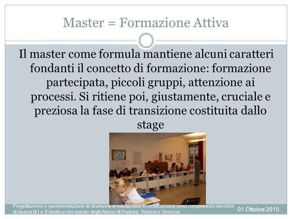Master = Formazione Attiva Il master come formula mantiene alcuni caratteri fondanti il concetto di formazione: formazione partecipata, piccoli gruppi, attenzione ai processi.