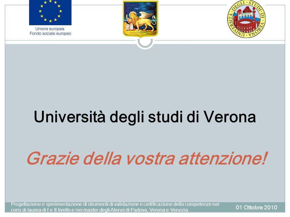 Università degli studi di Verona Grazie della vostra attenzione.