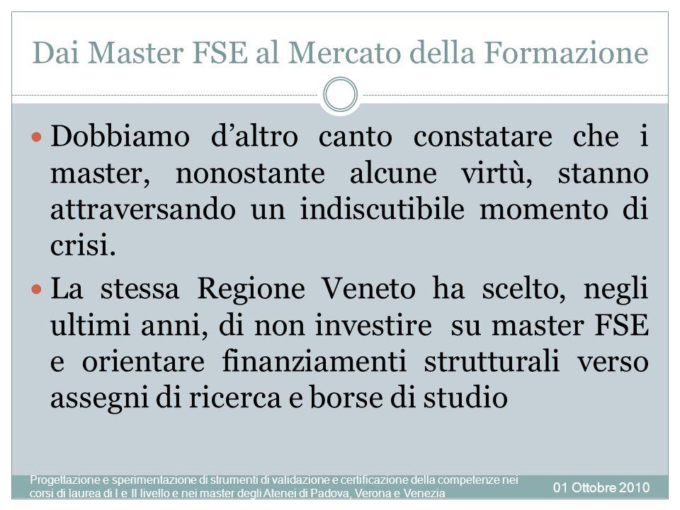 Dai Master FSE al Mercato della Formazione Dobbiamo daltro canto constatare che i master, nonostante alcune virtù, stanno attraversando un indiscutibile momento di crisi.
