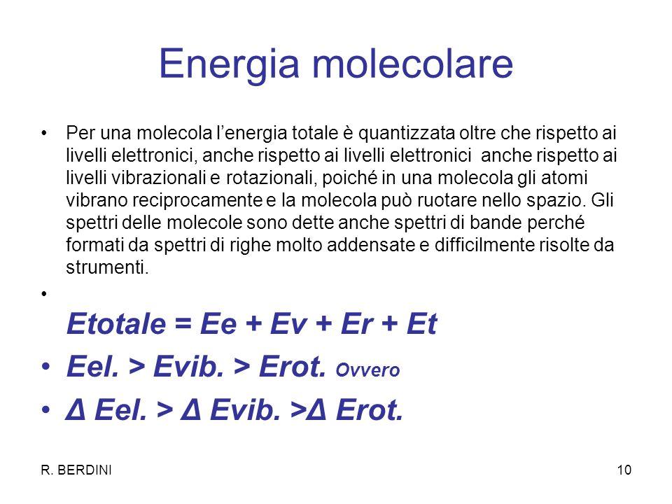 R. BERDINI10 Energia molecolare Per una molecola lenergia totale è quantizzata oltre che rispetto ai livelli elettronici, anche rispetto ai livelli el