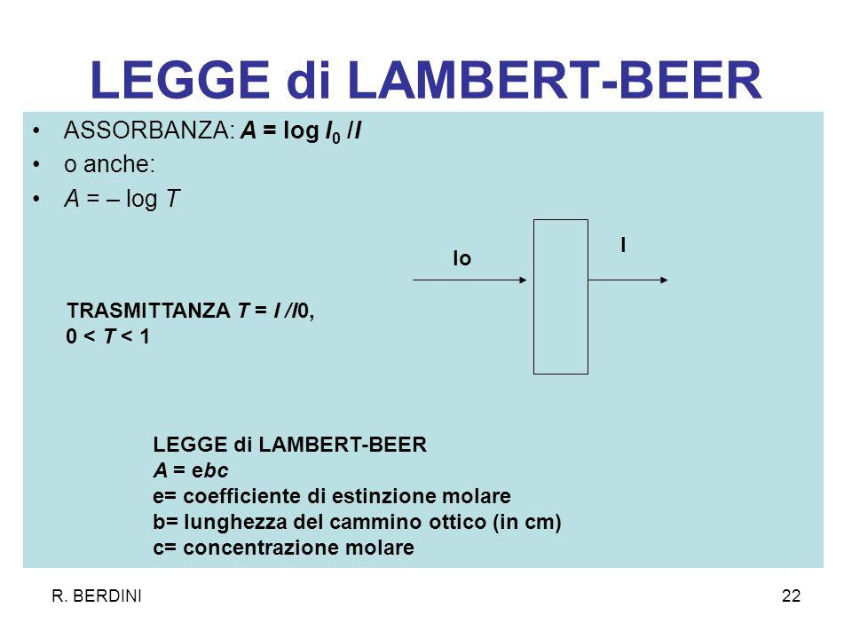 R. BERDINI22 LEGGE di LAMBERT-BEER ASSORBANZA: A = log I 0 /I o anche: A = – log T TRASMITTANZA T = I /I0, 0 < T < 1 LEGGE di LAMBERT-BEER A = ebc e=