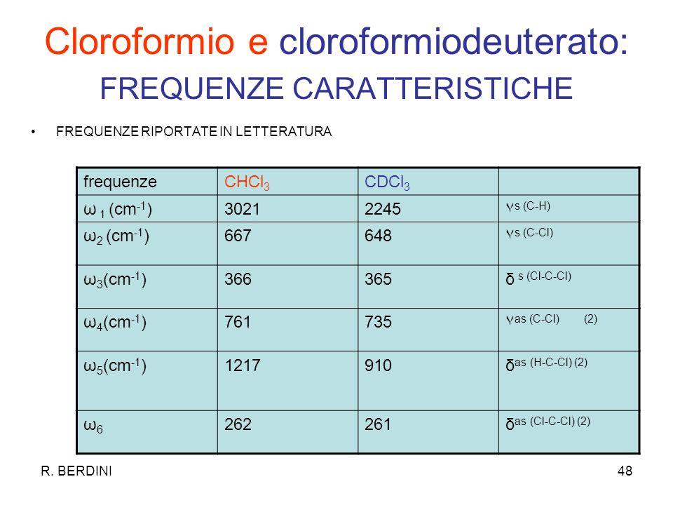R. BERDINI48 Cloroformio e cloroformiodeuterato: FREQUENZE CARATTERISTICHE FREQUENZE RIPORTATE IN LETTERATURA frequenzeCHCl 3 CDCl 3 ω 1 (cm -1 )30212