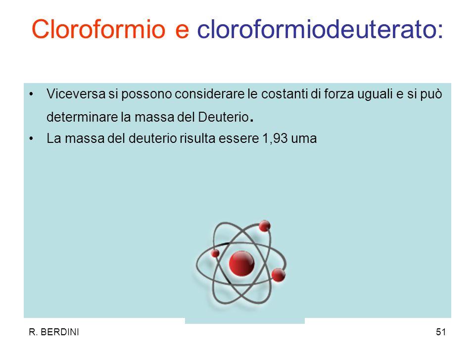 R. BERDINI51 Cloroformio e cloroformiodeuterato: Viceversa si possono considerare le costanti di forza uguali e si può determinare la massa del Deuter