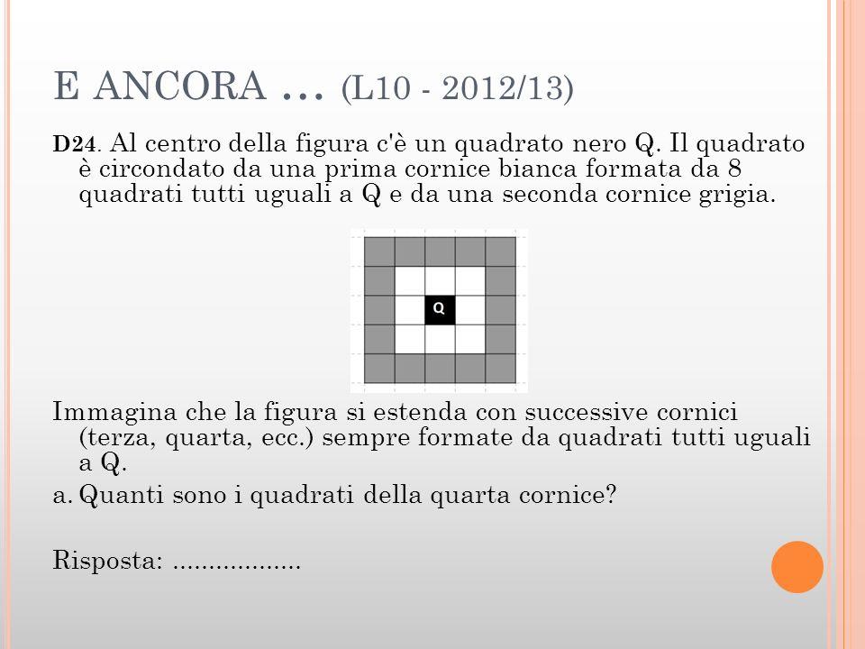 E ANCORA … (L10 - 2012/13) D24. Al centro della figura c'è un quadrato nero Q. Il quadrato è circondato da una prima cornice bianca formata da 8 quadr