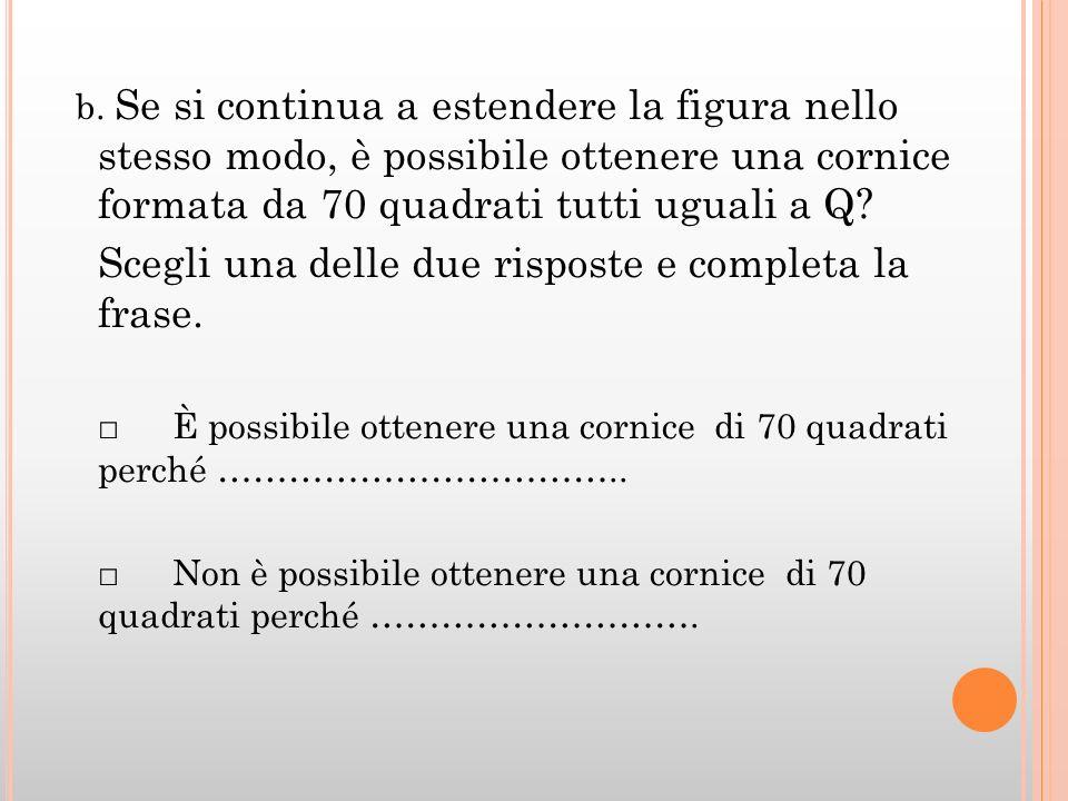 b. Se si continua a estendere la figura nello stesso modo, è possibile ottenere una cornice formata da 70 quadrati tutti uguali a Q? Scegli una delle