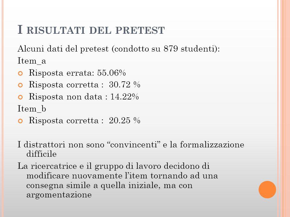 I RISULTATI DEL PRETEST Alcuni dati del pretest (condotto su 879 studenti): Item_a Risposta errata: 55.06% Risposta corretta : 30.72 % Risposta non da
