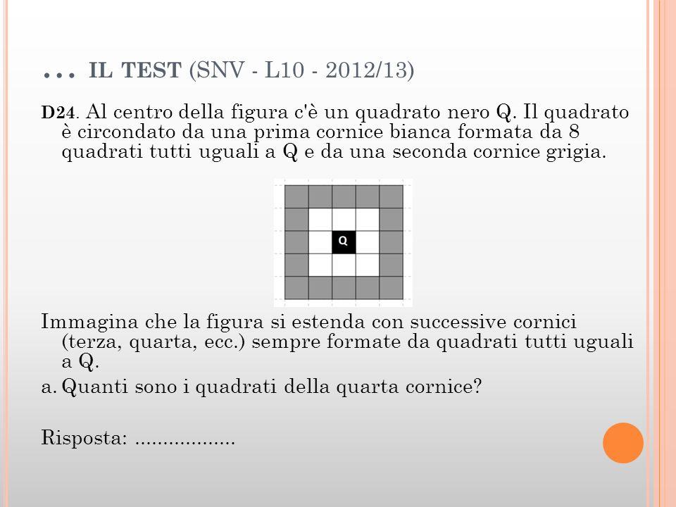 … IL TEST (SNV - L10 - 2012/13) D24. Al centro della figura c'è un quadrato nero Q. Il quadrato è circondato da una prima cornice bianca formata da 8