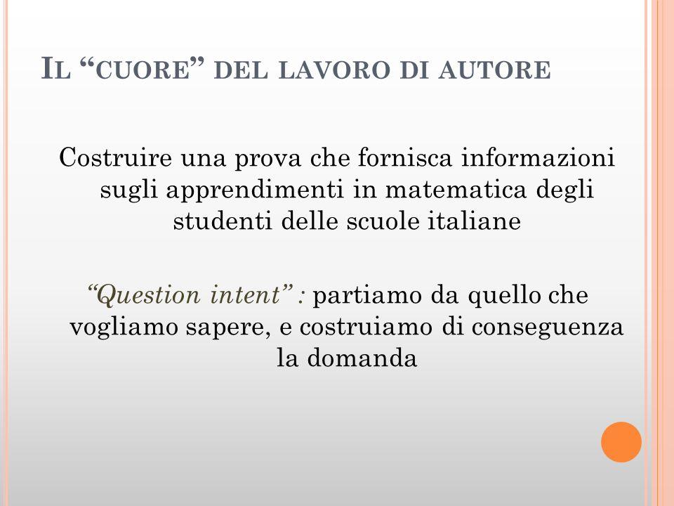 I L CUORE DEL LAVORO DI AUTORE Costruire una prova che fornisca informazioni sugli apprendimenti in matematica degli studenti delle scuole italiane Question intent : partiamo da quello che vogliamo sapere, e costruiamo di conseguenza la domanda
