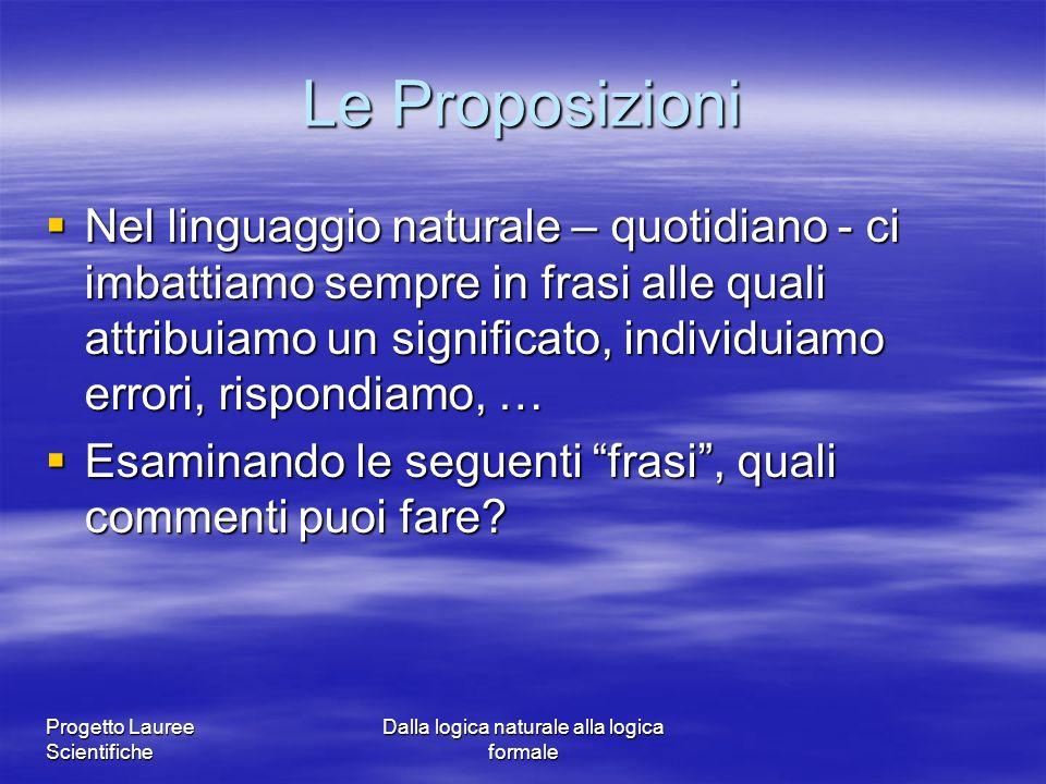 Progetto Lauree Scientifiche Dalla logica naturale alla logica formale Le Proposizioni Nel linguaggio naturale – quotidiano - ci imbattiamo sempre in