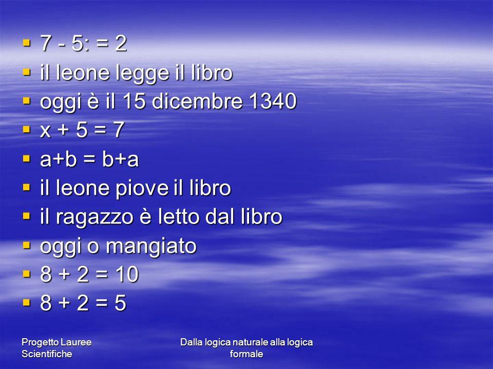 Progetto Lauree Scientifiche Dalla logica naturale alla logica formale 7 - 5: = 2 7 - 5: = 2 il leone legge il libro il leone legge il libro oggi è il
