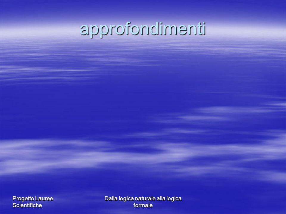 Progetto Lauree Scientifiche Dalla logica naturale alla logica formale approfondimenti