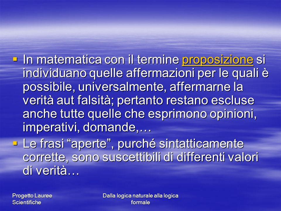 Progetto Lauree Scientifiche Dalla logica naturale alla logica formale In matematica con il termine proposizione si individuano quelle affermazioni pe