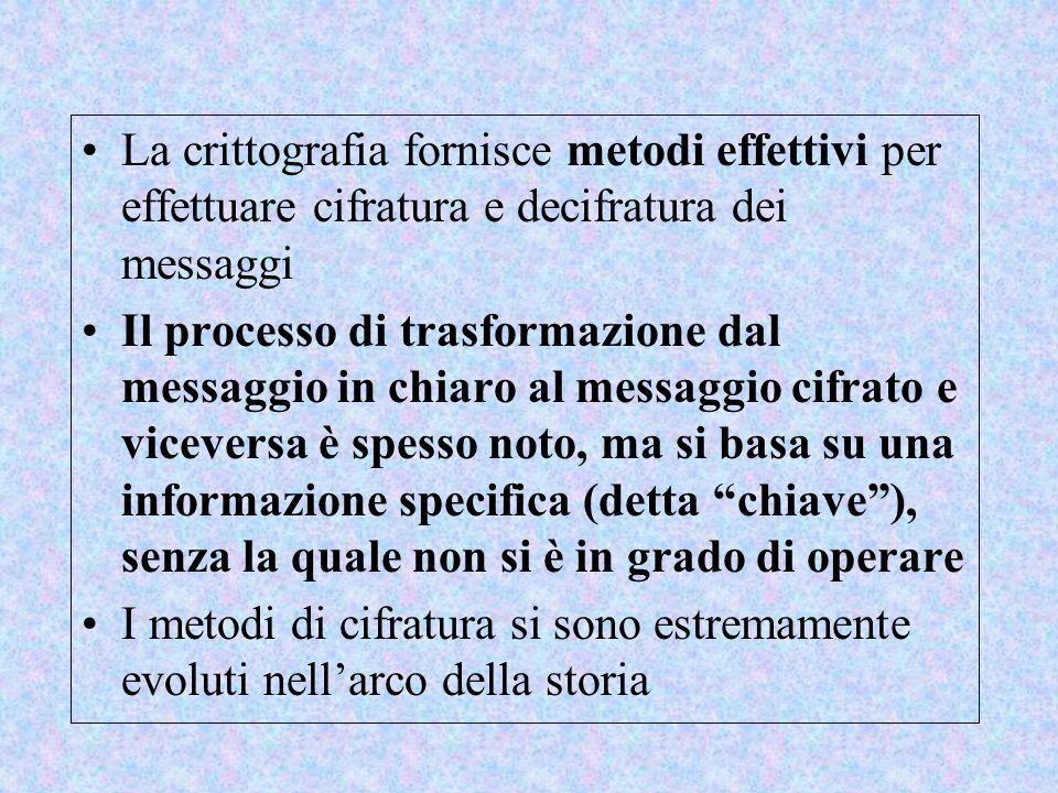 La crittografia fornisce metodi effettivi per effettuare cifratura e decifratura dei messaggi Il processo di trasformazione dal messaggio in chiaro al