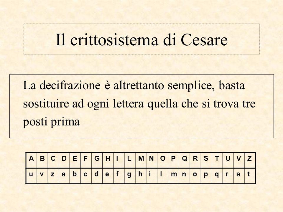 Il crittosistema di Cesare La decifrazione è altrettanto semplice, basta sostituire ad ogni lettera quella che si trova tre posti prima ABCDEFGHILMNOP