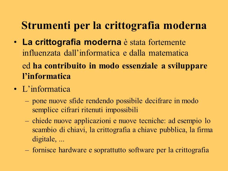Strumenti per la crittografia moderna La crittografia moderna è stata fortemente influenzata dallinformatica e dalla matematica ed ha contribuito in m