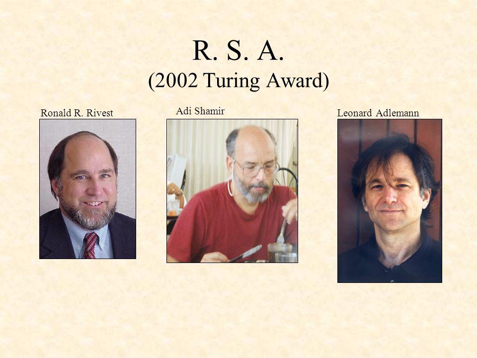 R. S. A. (2002 Turing Award) Ronald R. Rivest Leonard Adlemann Adi Shamir