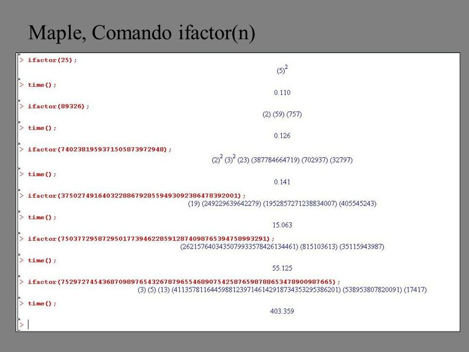 Maple, Comando ifactor(n)