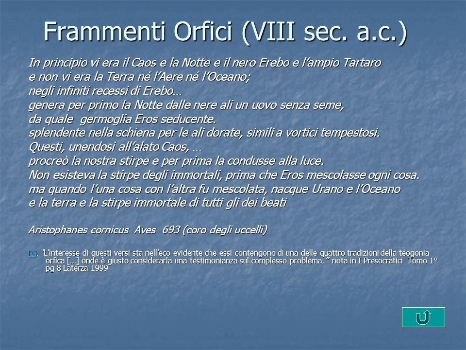 Frammenti Orfici (VIII sec.