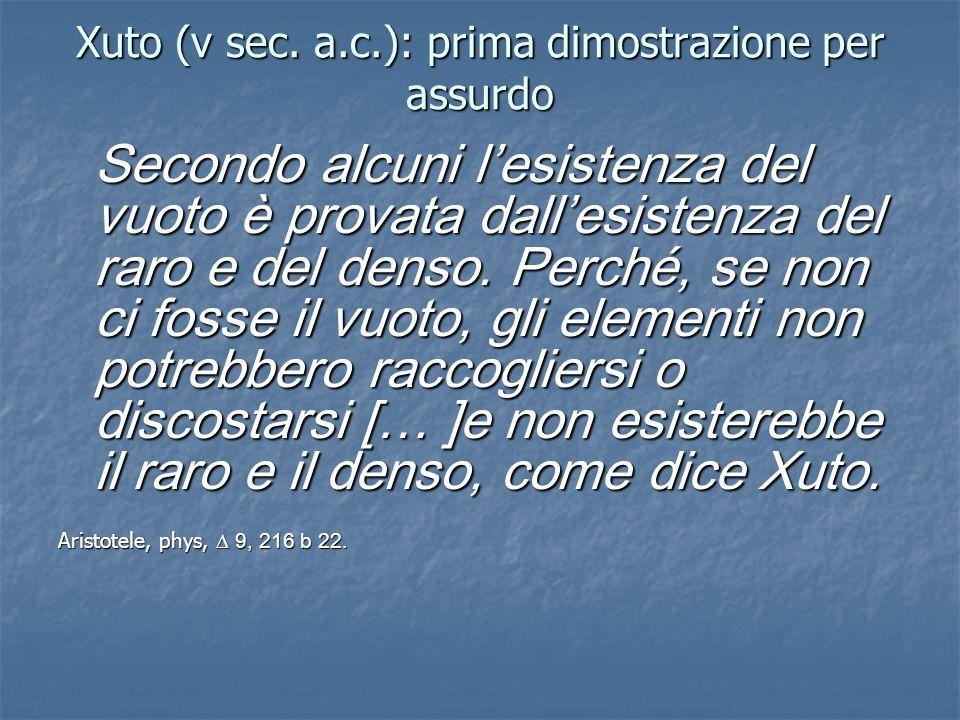Xuto (v sec. a.c.): prima dimostrazione per assurdo Secondo alcuni lesistenza del vuoto è provata dallesistenza del raro e del denso. Perché, se non c