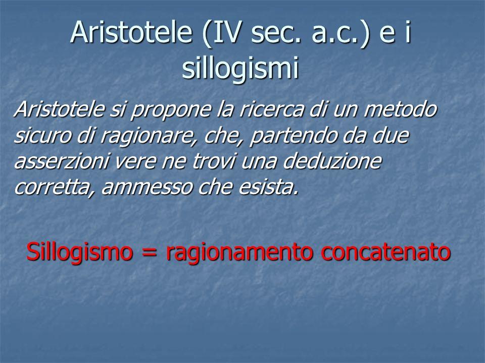 Aristotele (IV sec. a.c.) e i sillogismi Aristotele si propone la ricerca di un metodo sicuro di ragionare, che, partendo da due asserzioni vere ne tr