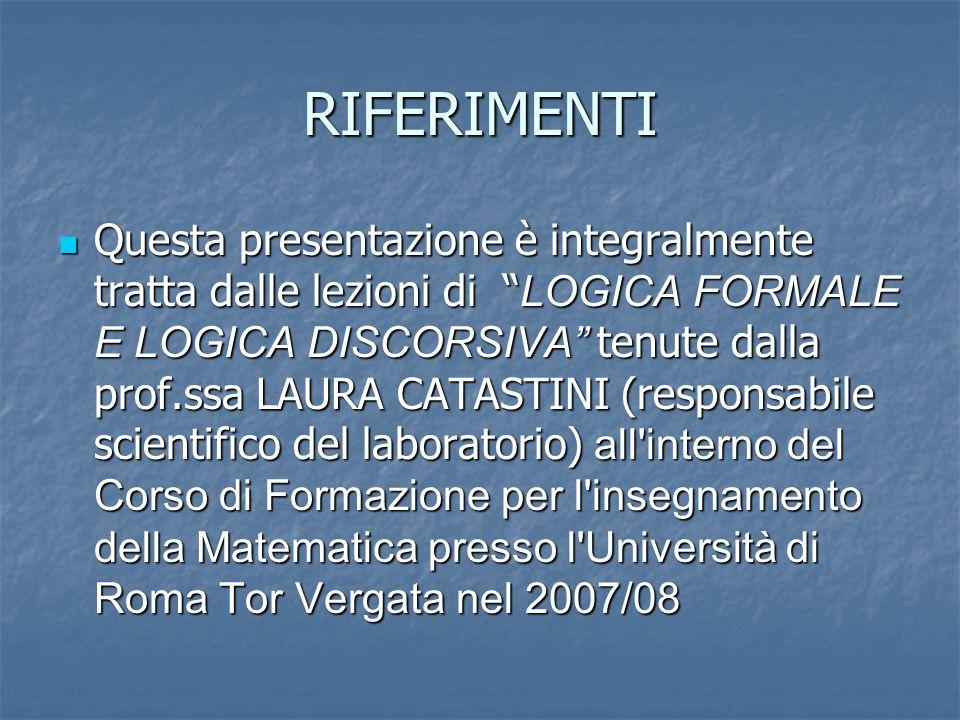 RIFERIMENTI Questa presentazione è integralmente tratta dalle lezioni di LOGICA FORMALE E LOGICA DISCORSIVA tenute dalla prof.ssa LAURA CATASTINI (responsabile scientifico del laboratorio) all interno del Corso di Formazione per l insegnamento della Matematica presso l Università di Roma Tor Vergata nel 2007/08 Questa presentazione è integralmente tratta dalle lezioni di LOGICA FORMALE E LOGICA DISCORSIVA tenute dalla prof.ssa LAURA CATASTINI (responsabile scientifico del laboratorio) all interno del Corso di Formazione per l insegnamento della Matematica presso l Università di Roma Tor Vergata nel 2007/08