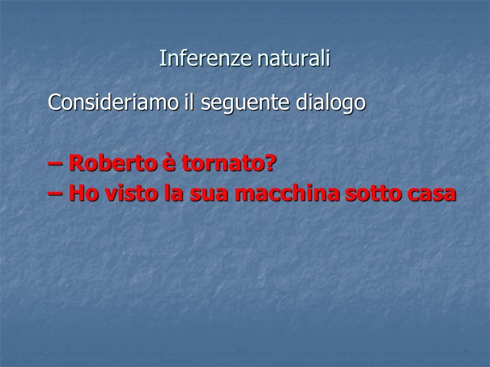 Inferenze naturali Consideriamo il seguente dialogo – Roberto è tornato.