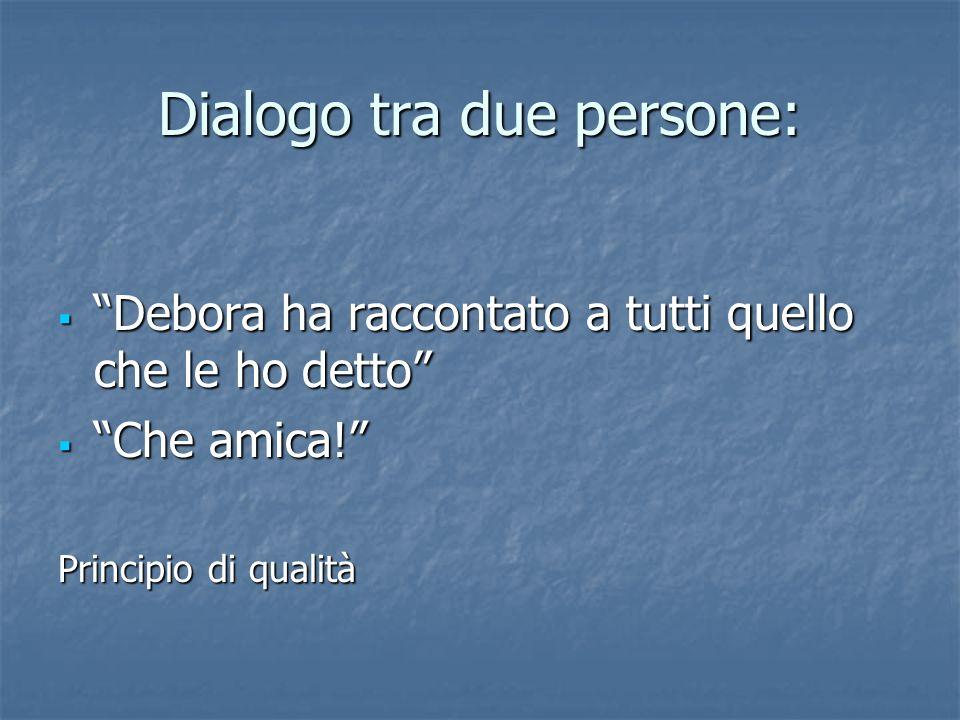 Dialogo tra due persone: Debora ha raccontato a tutti quello che le ho detto Debora ha raccontato a tutti quello che le ho detto Che amica.