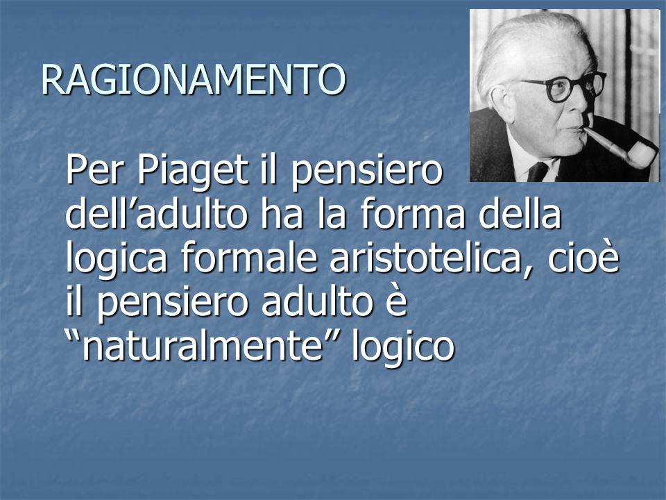 RAGIONAMENTO Per Piaget il pensiero delladulto ha la forma della logica formale aristotelica, cioè il pensiero adulto è naturalmente logico