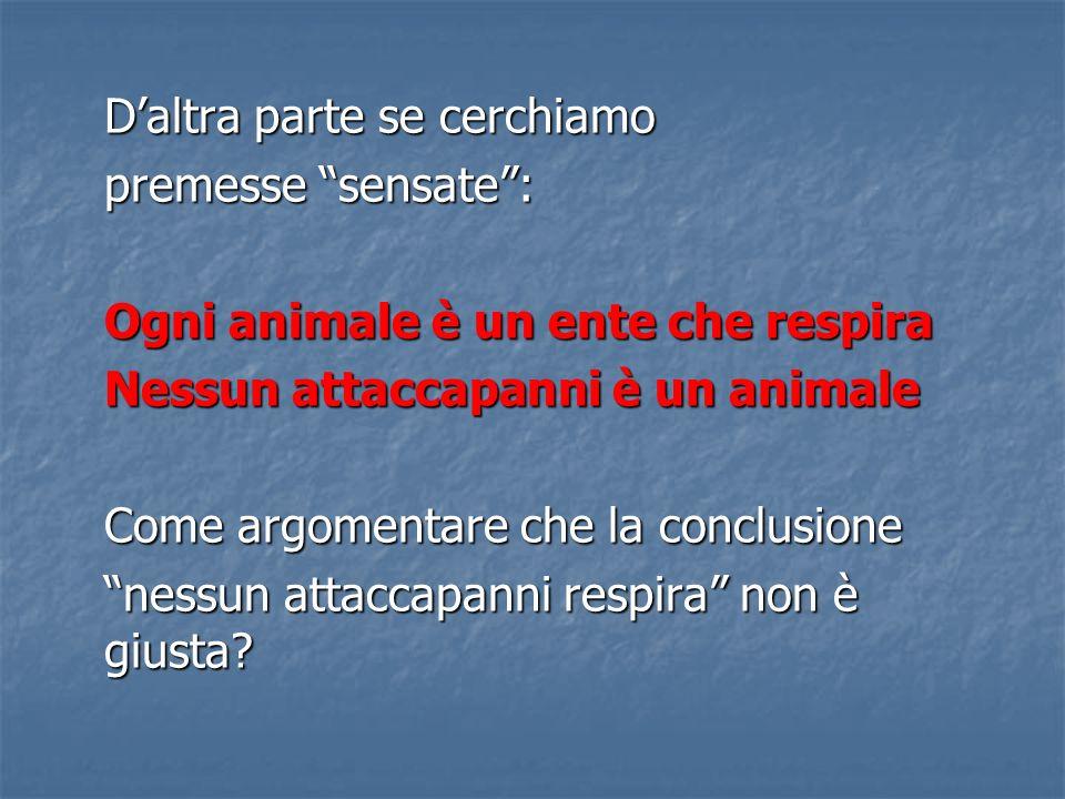 Daltra parte se cerchiamo premesse sensate: Ogni animale è un ente che respira Nessun attaccapanni è un animale Come argomentare che la conclusione nessun attaccapanni respira non è giusta?
