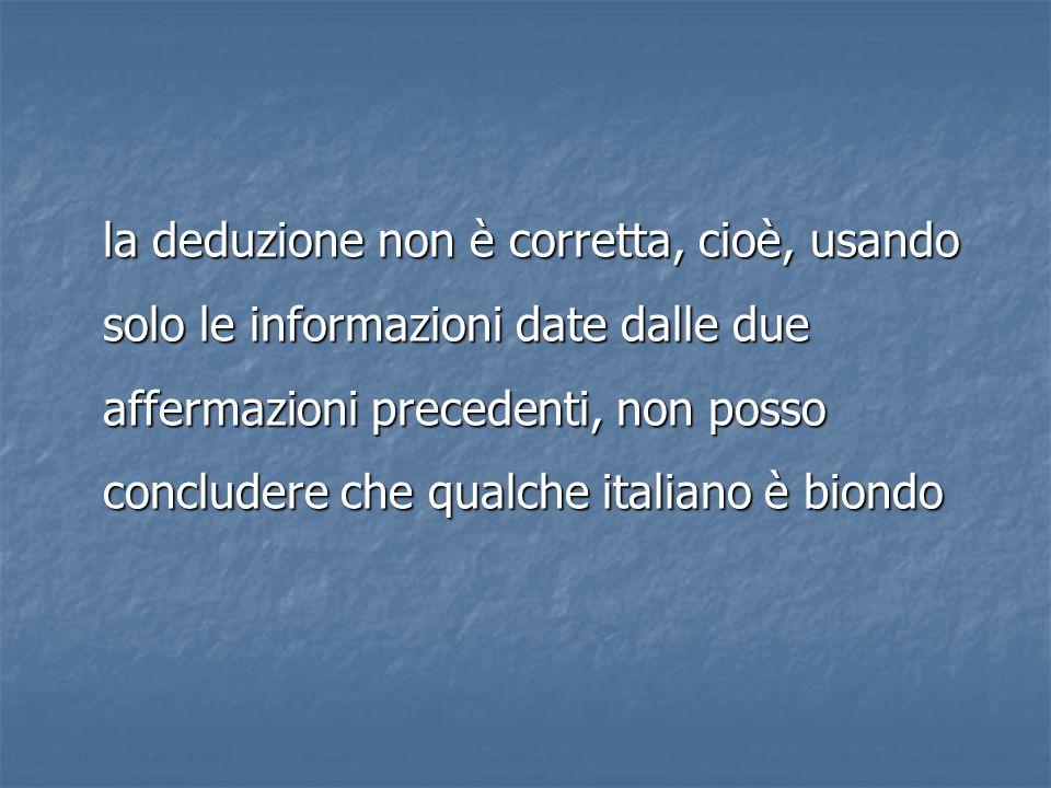 la deduzione non è corretta, cioè, usando solo le informazioni date dalle due affermazioni precedenti, non posso concludere che qualche italiano è bio
