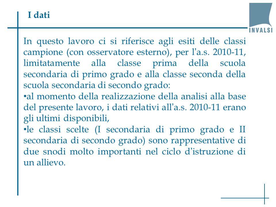 I dati In questo lavoro ci si riferisce agli esiti delle classi campione (con osservatore esterno), per la.s. 2010-11, limitatamente alla classe prima