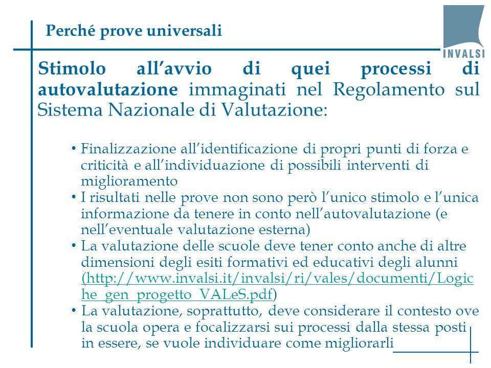 Stimolo allavvio di quei processi di autovalutazione immaginati nel Regolamento sul Sistema Nazionale di Valutazione: Finalizzazione allidentificazion