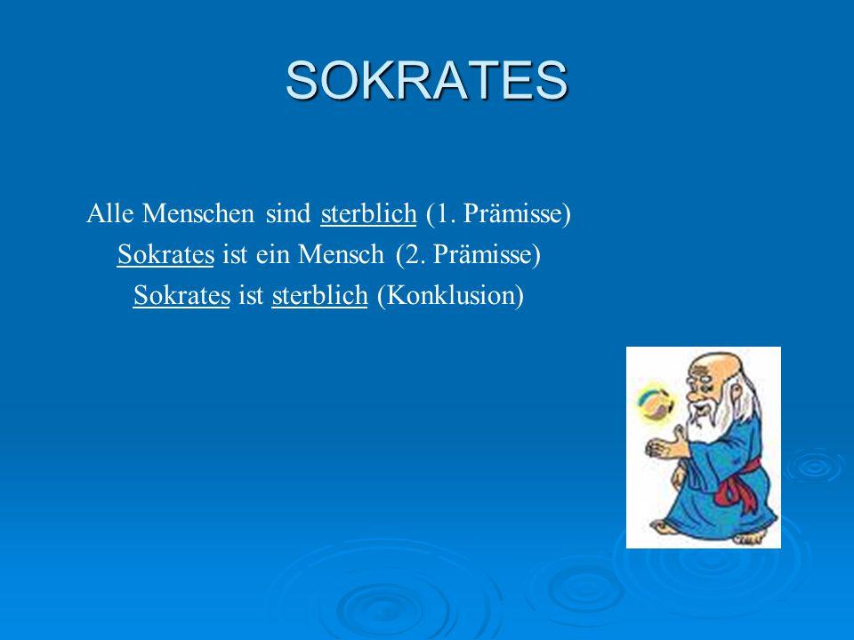 SOKRATES Alle Menschen sind sterblich (1. Prämisse) Sokrates ist ein Mensch (2. Prämisse) Sokrates ist sterblich (Konklusion)