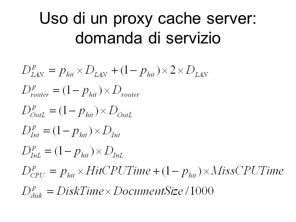 Uso di un proxy cache server: domanda di servizio