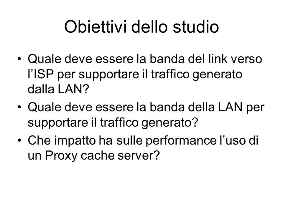Obiettivi dello studio Quale deve essere la banda del link verso lISP per supportare il traffico generato dalla LAN.