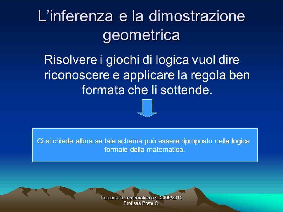 Percorso di matematica a.s. 2009/2010 Prof.ssa Prete C. Linferenza e la dimostrazione geometrica Risolvere i giochi di logica vuol dire riconoscere e