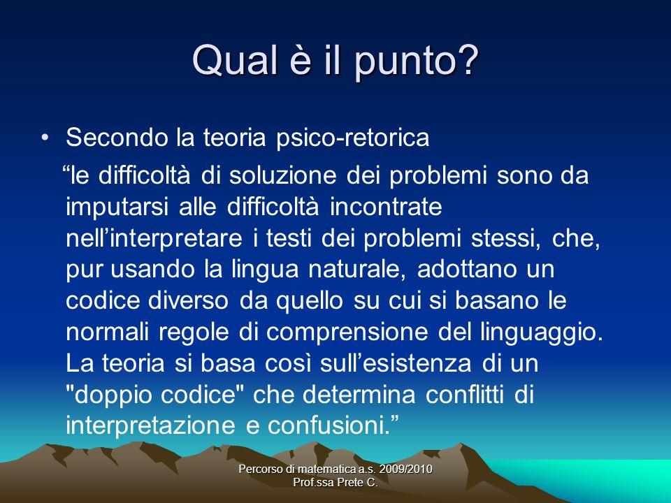 Percorso di matematica a.s. 2009/2010 Prof.ssa Prete C. Qual è il punto? Secondo la teoria psico-retorica le difficoltà di soluzione dei problemi sono