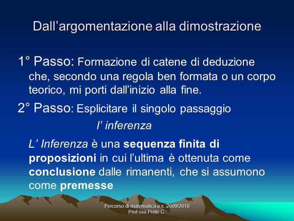 Percorso di matematica a.s. 2009/2010 Prof.ssa Prete C. Dallargomentazione alla dimostrazione 1° Passo: Formazione di catene di deduzione che, secondo