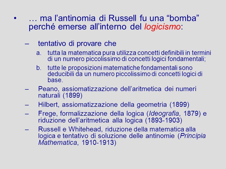… ma lantinomia di Russell fu una bomba perché emerse allinterno del logicismo: –tentativo di provare che a.tutta la matematica pura utilizza concetti
