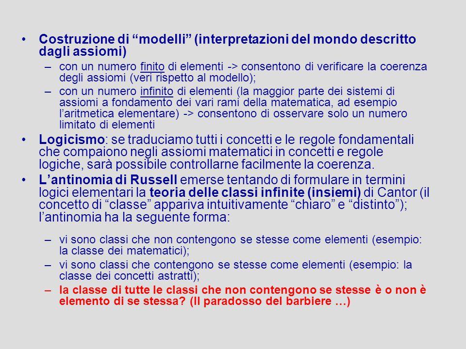 Costruzione di modelli (interpretazioni del mondo descritto dagli assiomi) –con un numero finito di elementi -> consentono di verificare la coerenza d