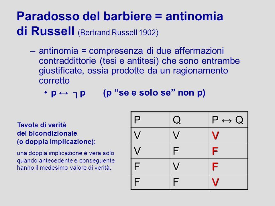 Paradosso del barbiere = antinomia di Russell (Bertrand Russell 1902) –antinomia = compresenza di due affermazioni contraddittorie (tesi e antitesi) c